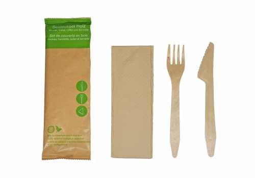 Besteckset Holz 3-teilig 100er Pack